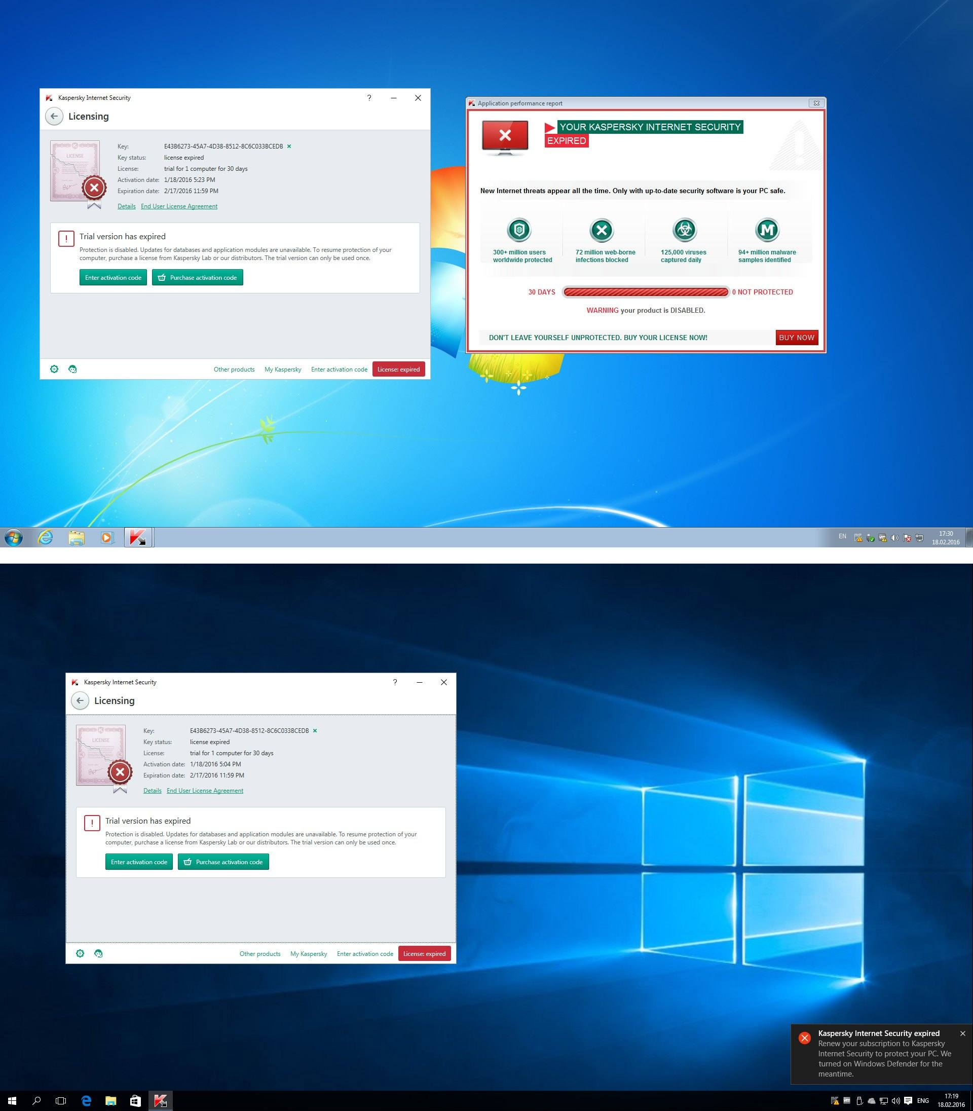 Expiración de licencia Kasperky: Windows 7 Vs. Windows 10